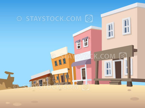 A street scene of a wild western ghost town.