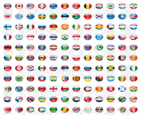 A 121 shiny flags from around the world on tiny little button shapes. All the top countries and more, including the G20.