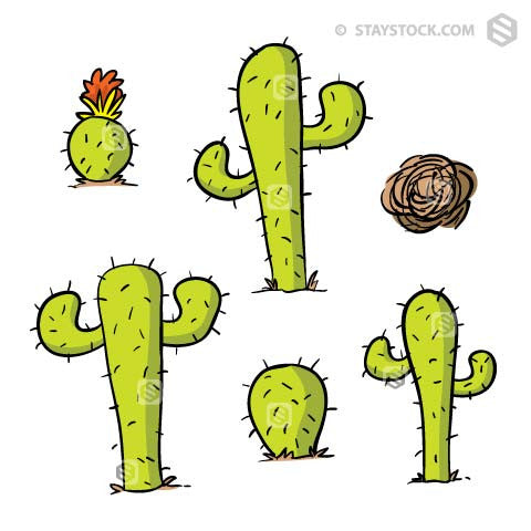 A collection of cartoon cactuses