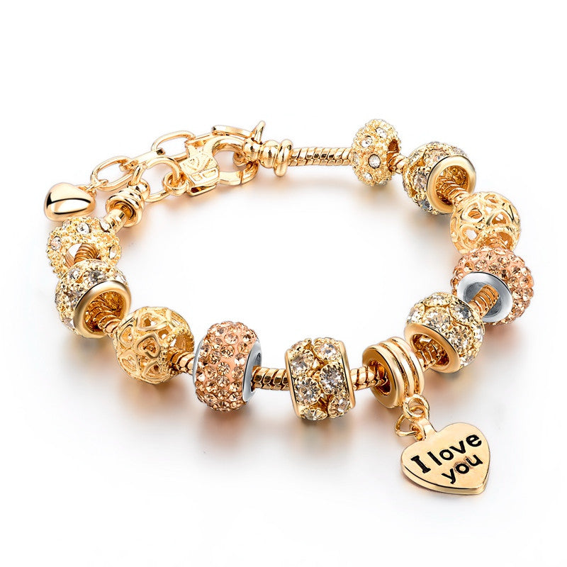 Heart Charm Bracelet For Women Gold Bracelets Bangles With Crystal Beads