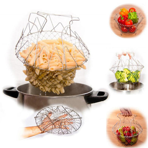 High Quality Foldable Steam Rinse Strain Fry French Chef Basket Magic Basket Mesh Basket Strainer Net Kitchen Cooking Tool