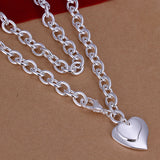 Necklace Silver Plated Necklace Silver Fashion Jewelry Necklace Dual Hearts Jewelry Wholesale