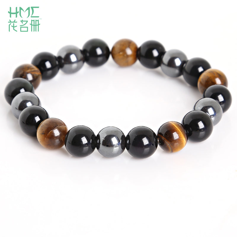 Top Seller! Tiger Eye & Hematite & Black Obsidian 10mm Stone Bracelet - FREE Shipping