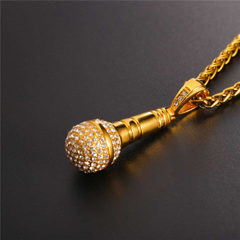 U7 Rock Punk Microphone Necklace & Pendant Women Stainless Steel Gold Plated Jewelry