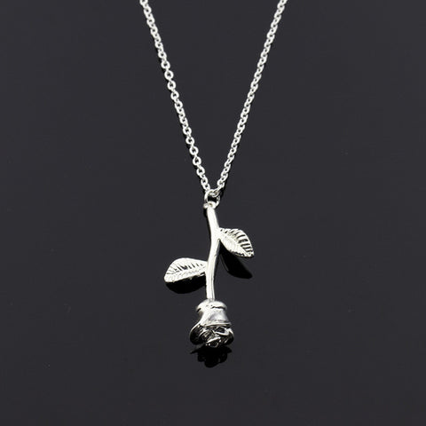 Stainless Steel Chain Gold Rose Flower Charm Necklace Pendant