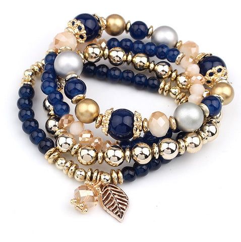 "YOU CAN'T BEAT ""FREE""!  4pcs/set  Multilayer Crystal Beads Leave Tassel Bracelet"