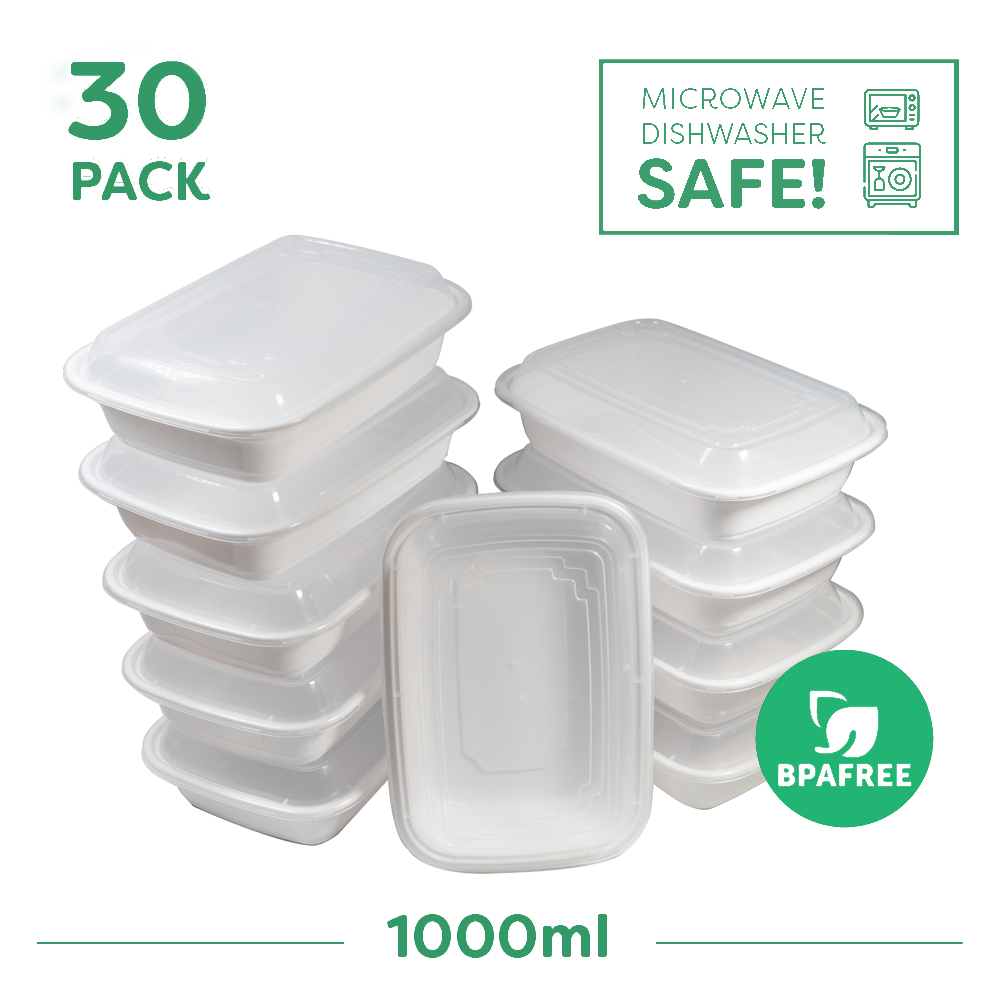 30x Single Compartment Meal Prep Food Storage Containers White - Jugglebox