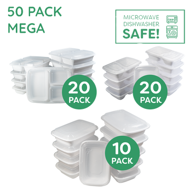 50x The MEGA Ultimate Meal Prep Container Mixed Pack WHITE - Jugglebox