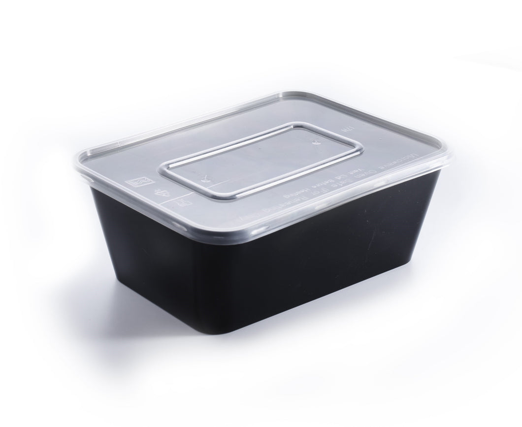 300 Pieces - Rectangle Meal Prep Containers black 750ml