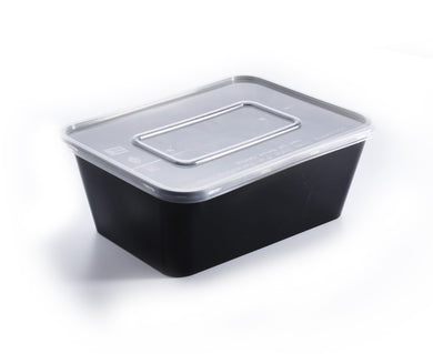 200 Pieces - Rectangle Meal Prep Containers black 750ml