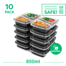 10x Two Compartment Meal Prep Food Storage Containers - Jugglebox