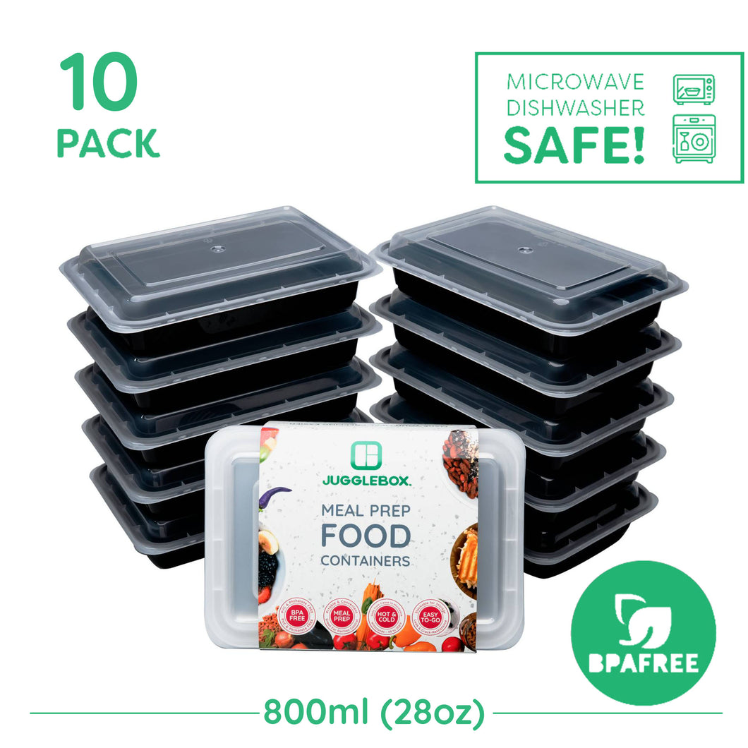 10x Single Compartment Meal Prep Food Storage Containers NEW VERSION - Jugglebox