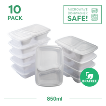 10x Two Compartment Meal Prep Food Storage Containers White - Jugglebox
