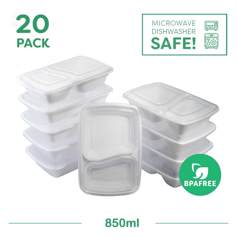 20x Two Compartment Meal Prep Food Storage Containers White - Jugglebox