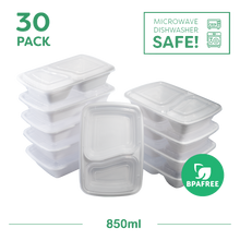 30x Two compartment Meal Prep Food Storage Containers White - Jugglebox