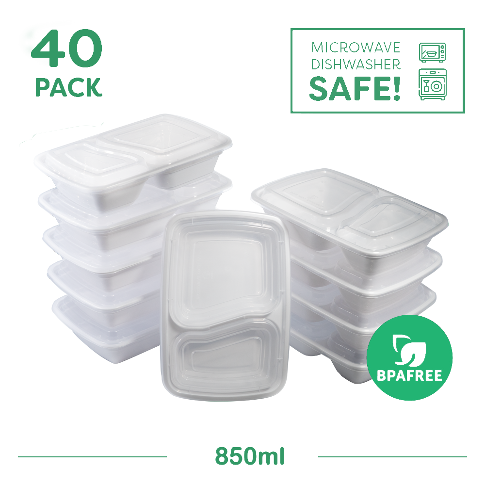 40x Two Compartment Meal Prep food storage containers White - Jugglebox