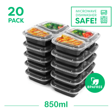 20 x Two Compartment Meal Prep Food Storage Containers - Jugglebox