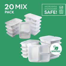 20 Mixed Two and Three Compartment Meal Prep Food Storage Containers White - Jugglebox