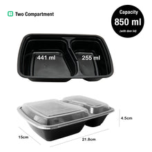 Dimension of Two Compartment Meal Prep Food Storage Containers - Jugglebox