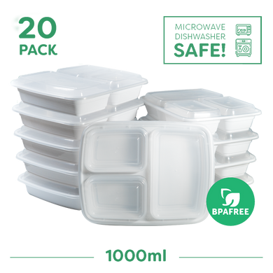20x Three Compartment Meal Prep Food Storage Containers White - Jugglebox