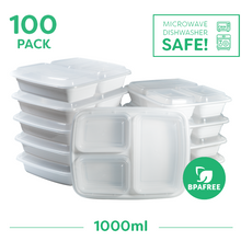 100x 3 Compartment Meal Prep Food Storage Containers - Jugglebox