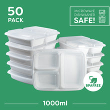 50x 3 Compartment Meal Prep Food Storage Containers White - Jugglebox