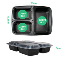 10x Three Compartment Meal Prep Food Storage Containers NEW VERSION - Jugglebox
