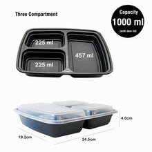 100 x 3 Compartment Meal Prep Food Storage Containers - Jugglebox