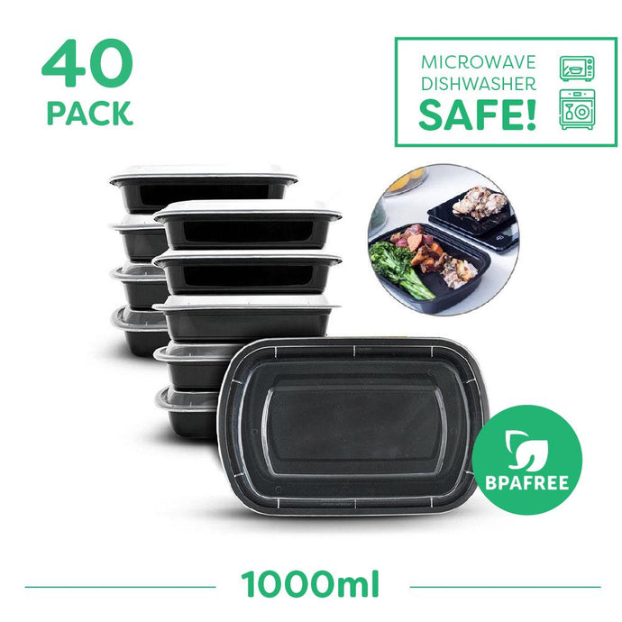 40 x Single Compartment Meal Prep Food Storage Containers