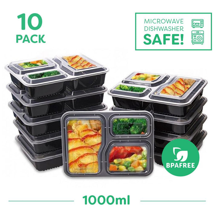 10 x Three Compartment Meal Prep Food Storage Containers