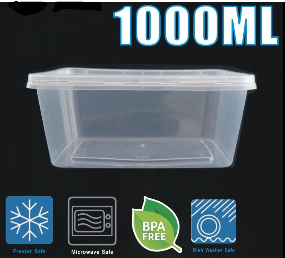 500 x Rectangle Meal Prep Containers 1000ml - Clear