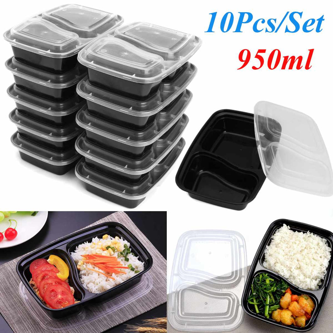 10 Pcs Plastic Reusable Bento Box Meal Storage Food Prep Lunch Box 2 Compartment Reusable Microwavable Containers Home Lunchbox