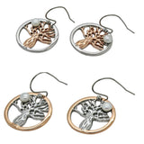 Boab Tree Pearl Earrings- Two tone rose gold / Steel