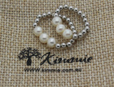 Stretch Silver and Freshwater Pearl Ring