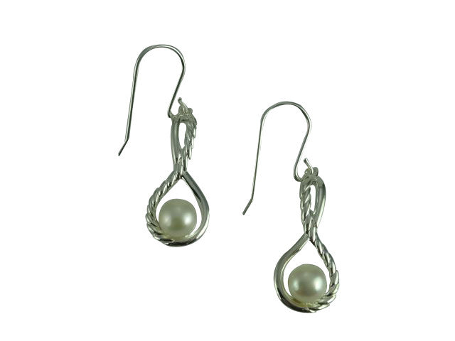Sterling Silver Pearl Twist Drop Earrings