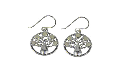 Round Boab Tree Earrings MOP Inlay