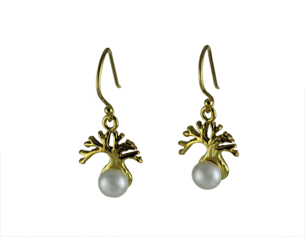Boab Pearl Earrings - Gold Plated Sterling Silver