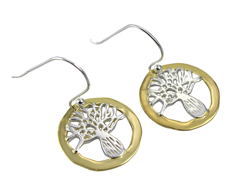 Boab Tree Round Sterling Silver Earrings Gold Edge