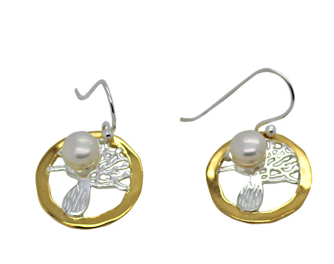 Boab Tree Round Pearl Earrings Gold Edging
