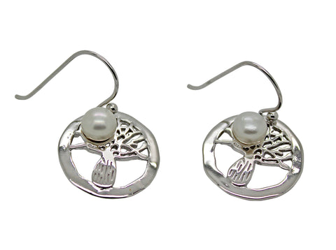 Boab Tree Round Pearl Earrings Silver