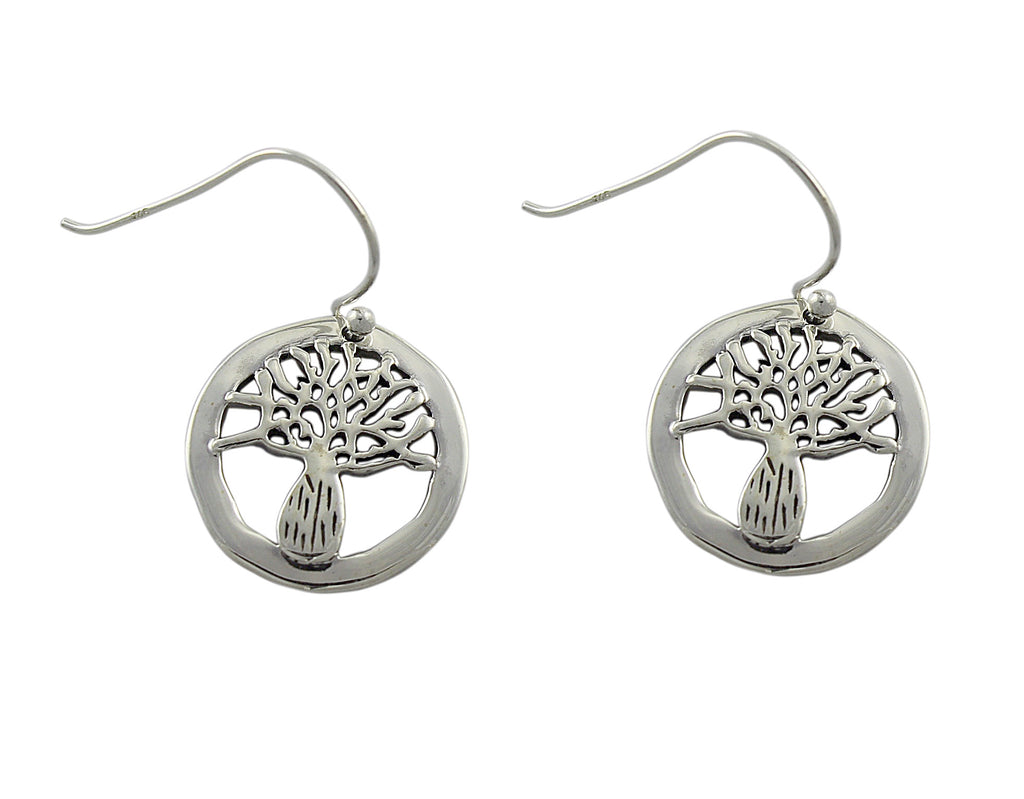 Boab Tree Round Sterling Silver Earrings