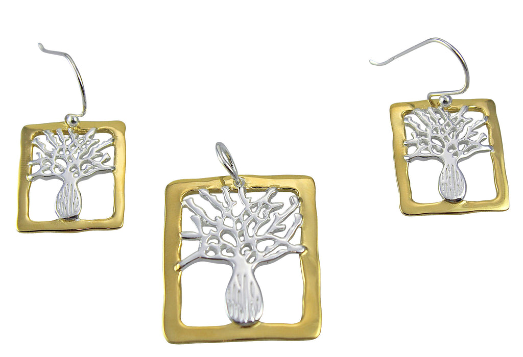 Boab Tree Silver Gold Plated Rim Rectangle Earrings