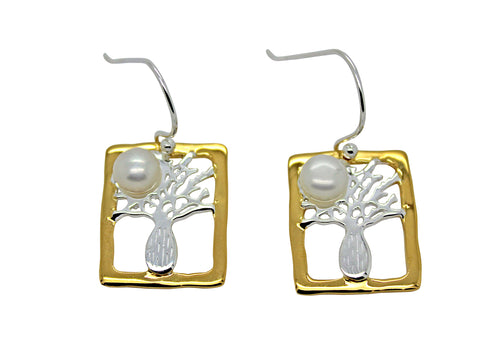 Boab Tree Silver Rectangle Pearl Earrings Gold Edge