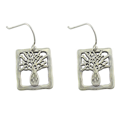 Boab Tree Silver Rectangle Earrings