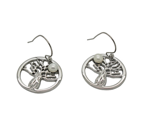 Boab Tree Pearl Earrings - Steel