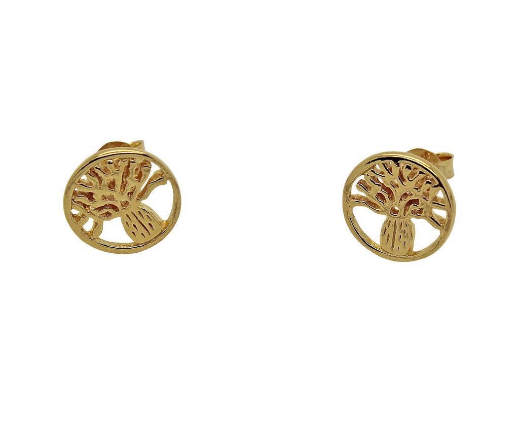 Boab Tree Studs Round Gold or Rose Gold