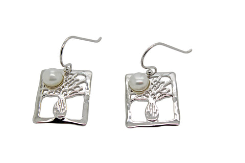 Boab Tree Silver Rectangle Pearl Earrings