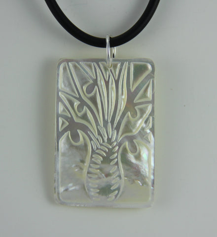 Pearl Shell Boab Rectangle Pendant - Large