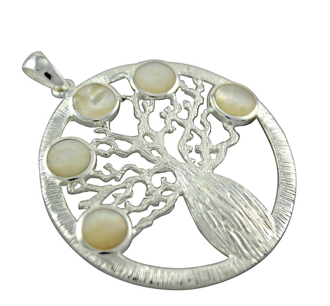 Round Boab Tree Pendant with Mother of Pearl Shell Inlay - Large