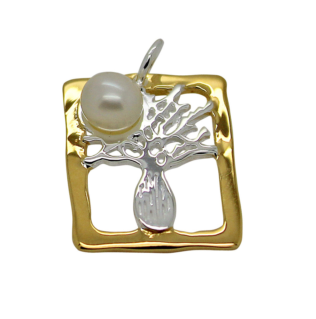Boab Tree Pendant Silver Pearl Rectangle Gold Edge